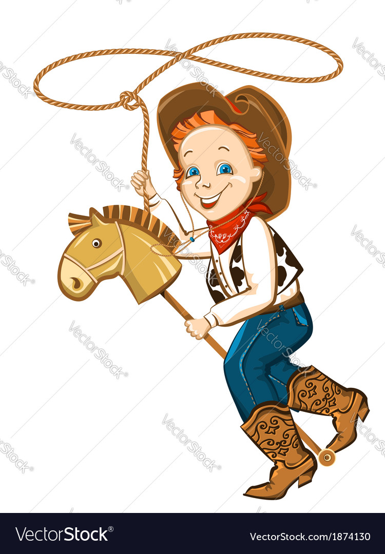 Cowboy child with lasso and toy horse vector | Price: 1 Credit (USD $1)