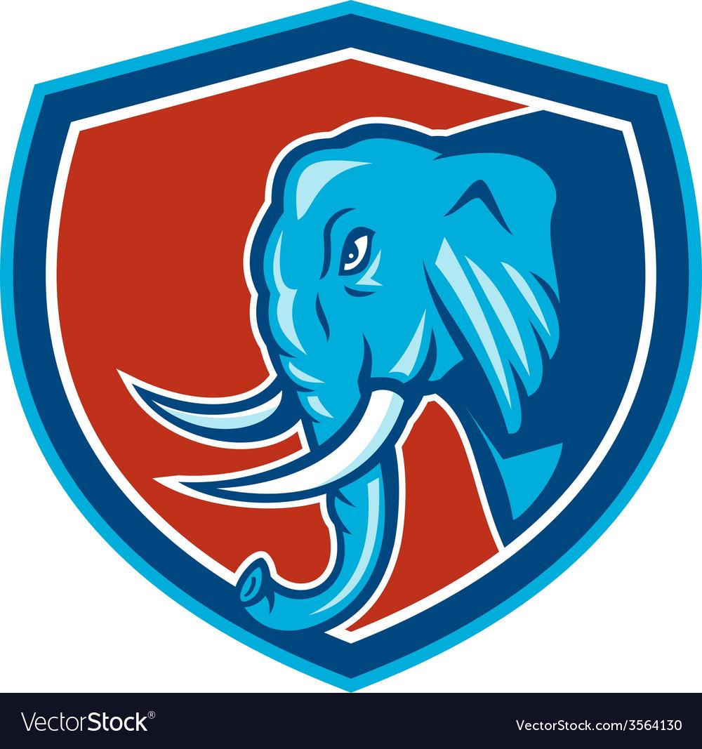 Elephant head side shield cartoon vector   Price: 1 Credit (USD $1)