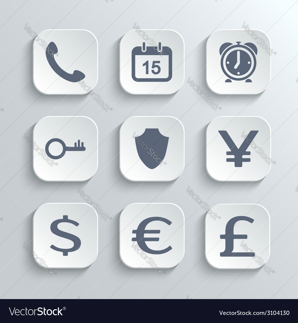 Finance icons set - white app buttons vector | Price: 1 Credit (USD $1)