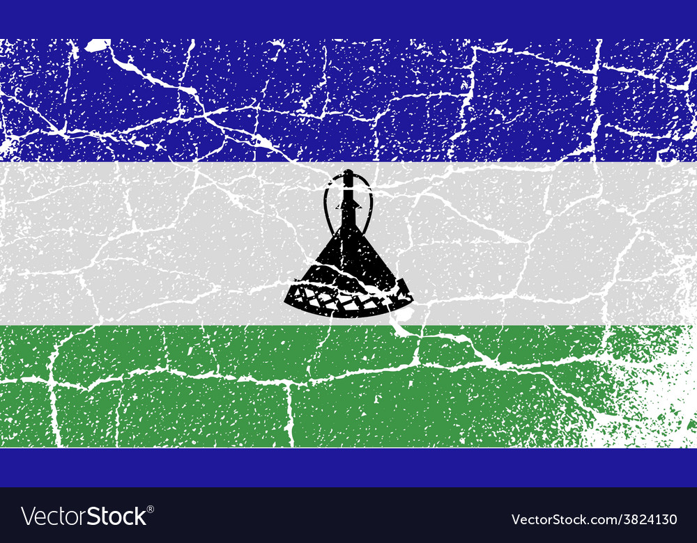Flag of lesotho with old texture vector | Price: 1 Credit (USD $1)