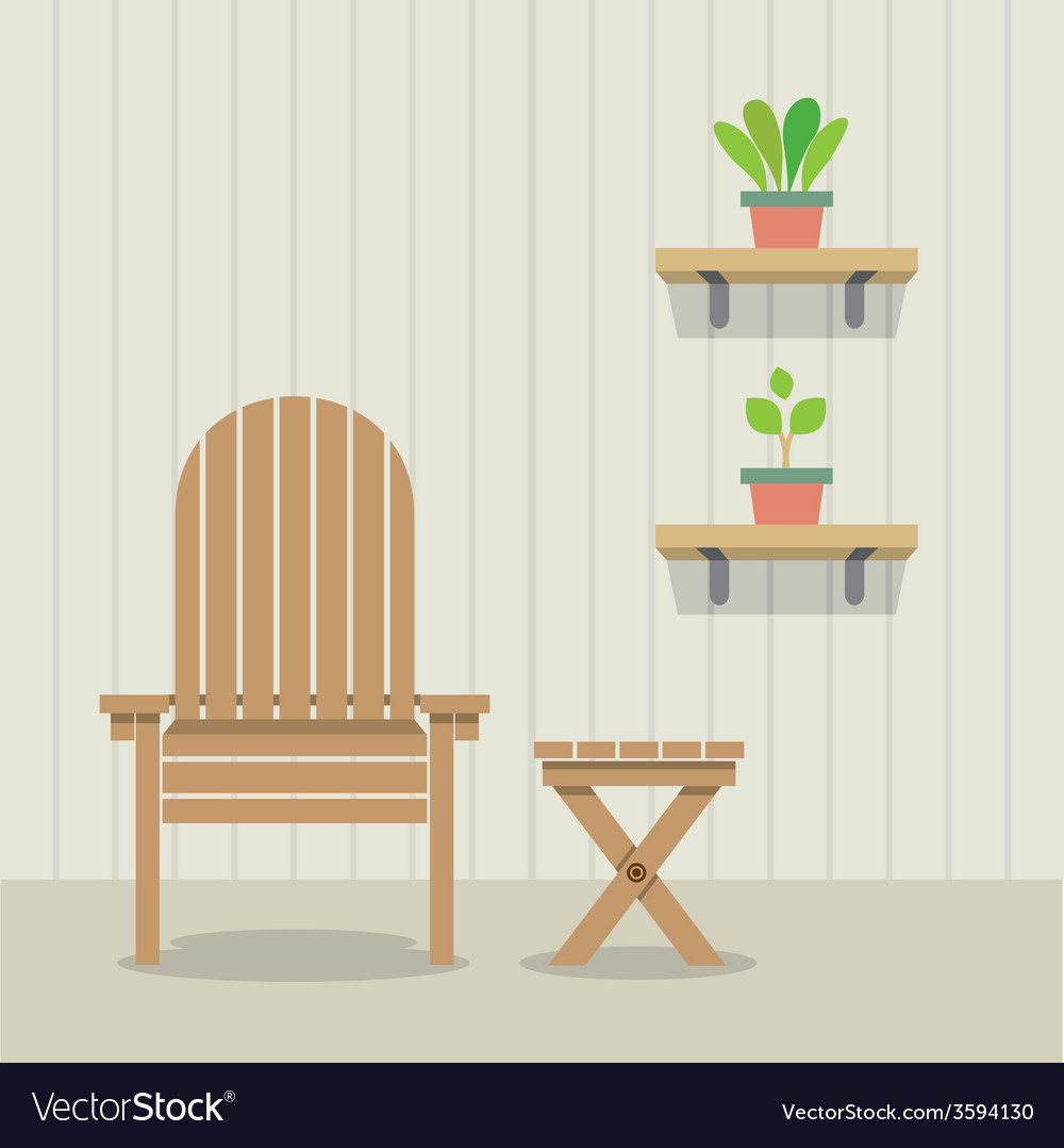 Garden chair and table with pot plants on wooden vector | Price: 1 Credit (USD $1)