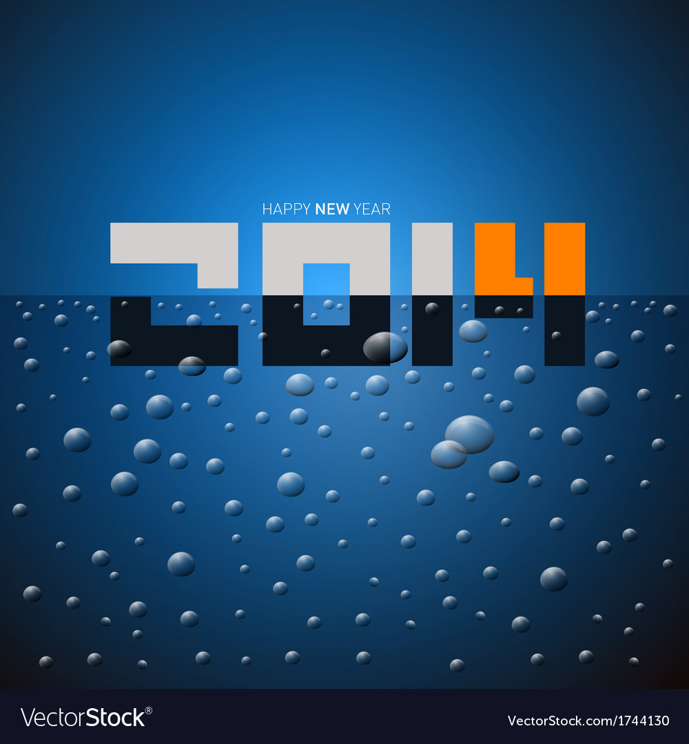 Happy new year 2014 title on blue drink vector | Price: 1 Credit (USD $1)