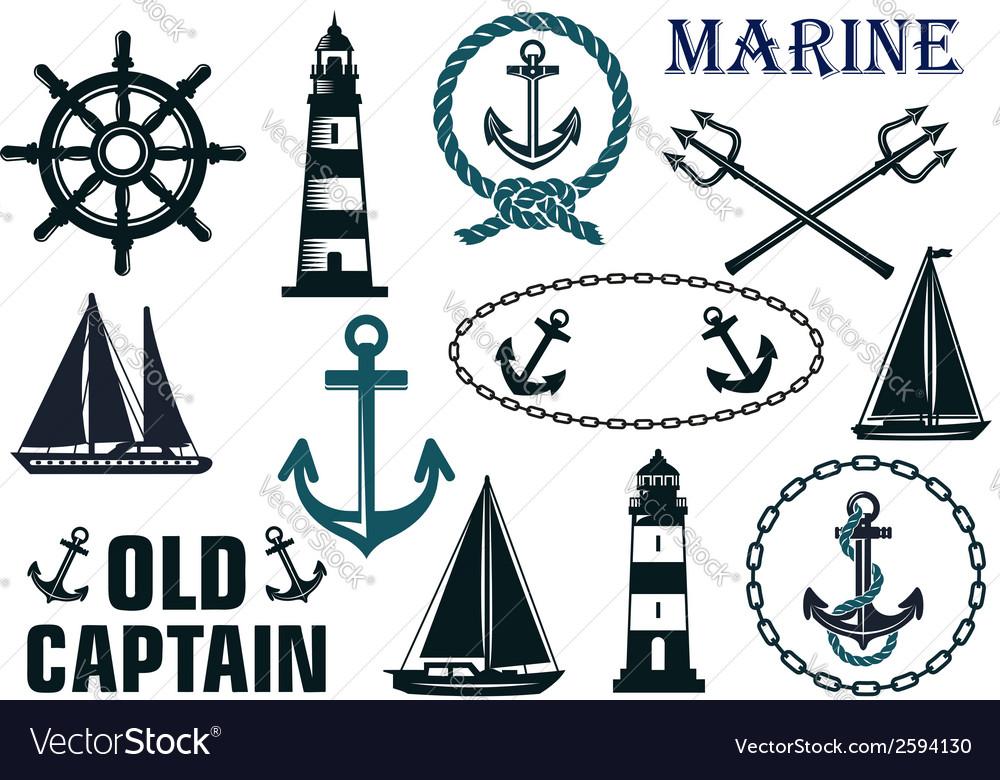 Marine heraldic elements set vector | Price: 1 Credit (USD $1)