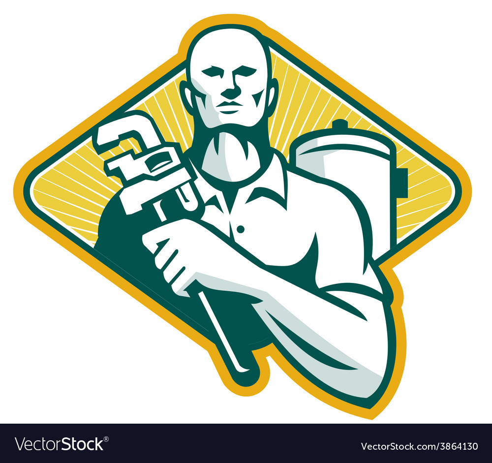 Plumber with wrench and hot water cylinder retro vector