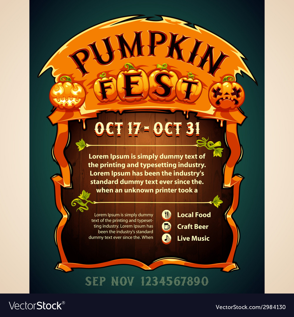 Pumpkin fest poster vector | Price: 1 Credit (USD $1)