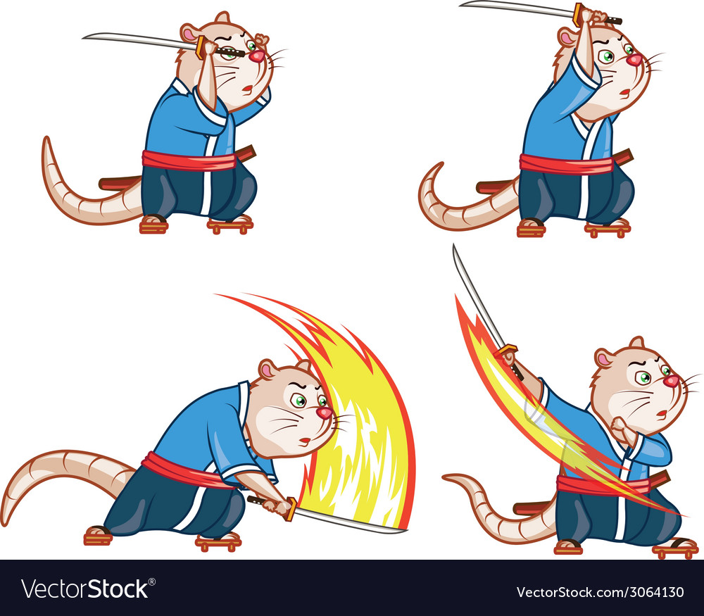 Samurai mouse attack sprite vector | Price: 1 Credit (USD $1)