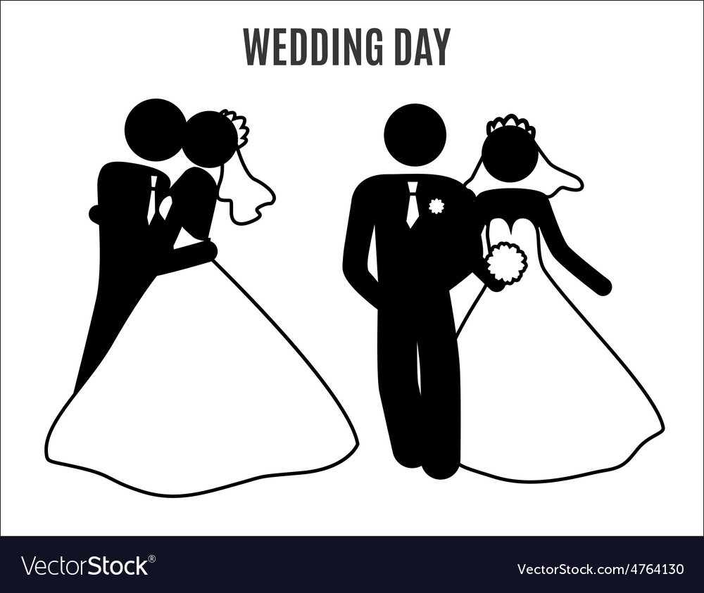 Stick figure wedding couples vector | Price: 1 Credit (USD $1)