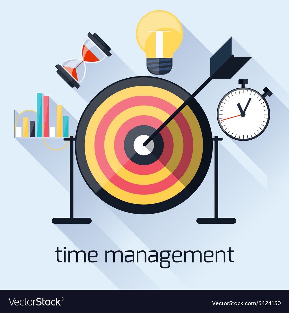 Time management timing concept in flat design vector | Price: 1 Credit (USD $1)