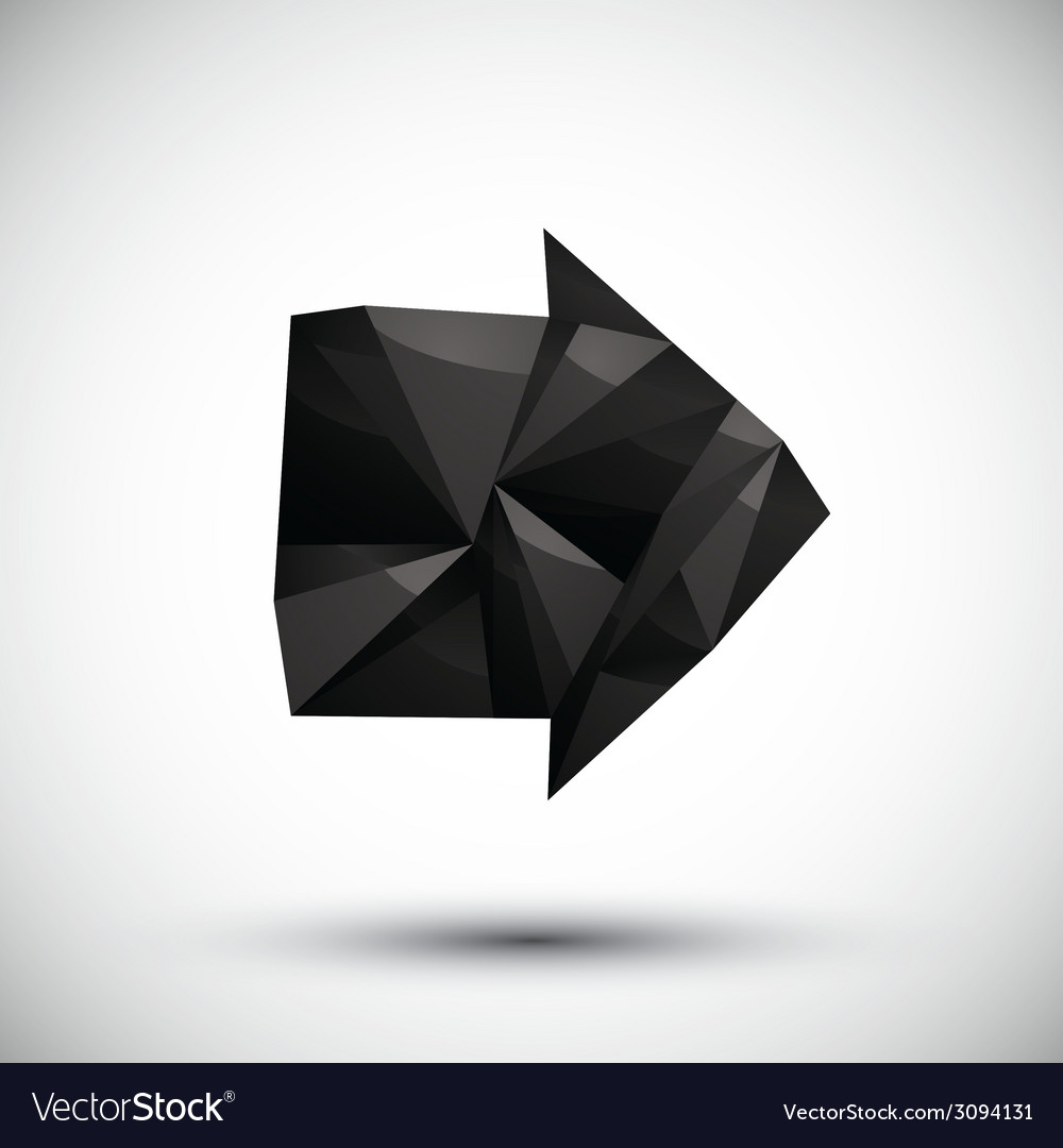 Black arrow geometric icon made in 3d modern style vector | Price: 1 Credit (USD $1)