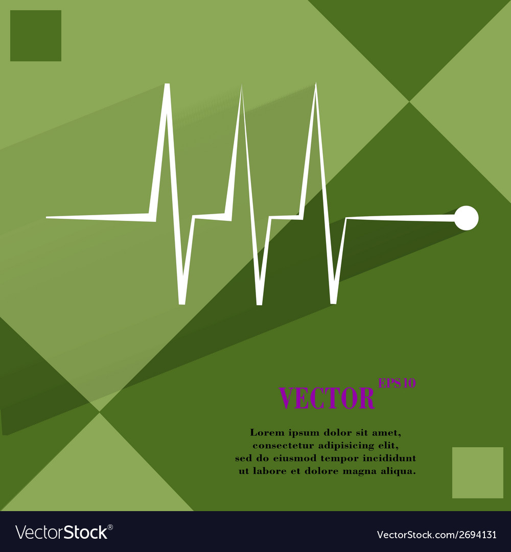 Heart rhythm flat modern web button on a flat vector | Price: 1 Credit (USD $1)