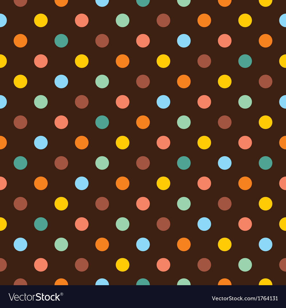 Seamless pattern with colorful polka dots on brown vector | Price: 1 Credit (USD $1)