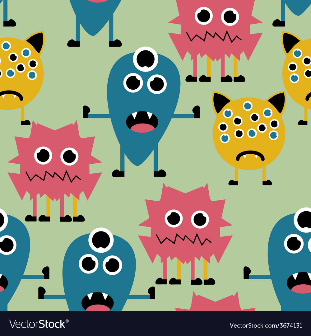 Seamless pattern with cute funny monsters vector | Price: 1 Credit (USD $1)