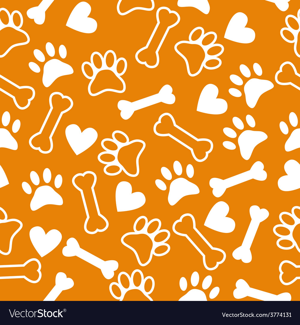 Seamless pattern with dog paw and print bone vector | Price: 1 Credit (USD $1)