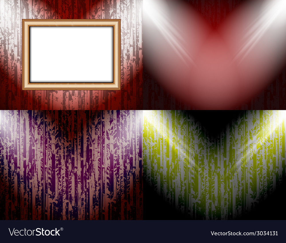 Set of blank frame on a color wall lighting vector | Price: 1 Credit (USD $1)