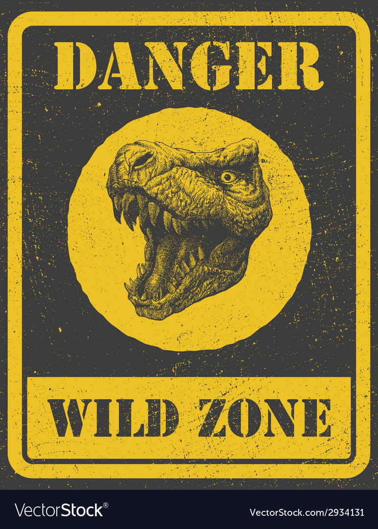 Warning sign danger signal with dinosaur eps 8 vector | Price: 1 Credit (USD $1)