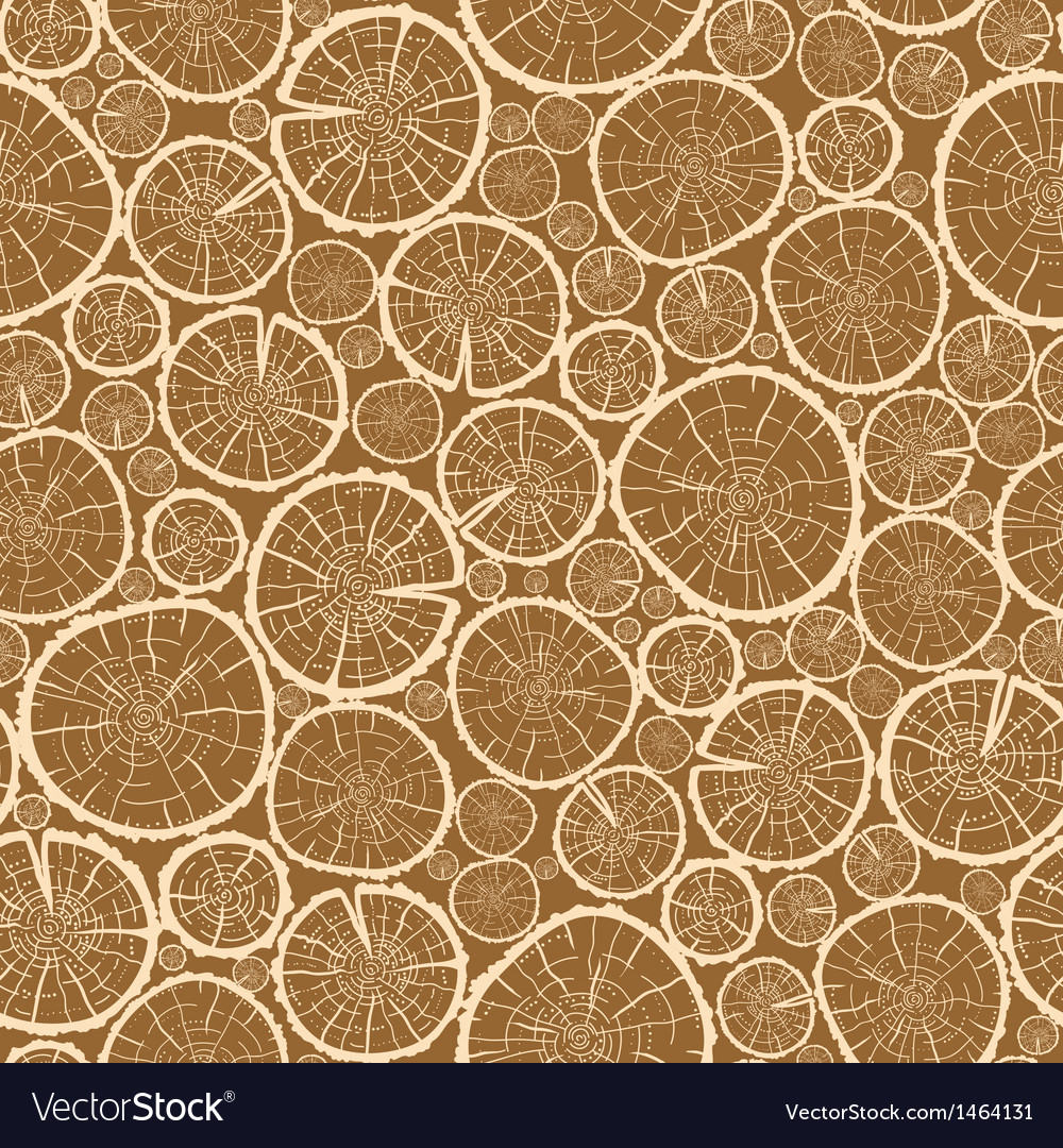 Wood logs cuts seamless pattern background vector | Price: 1 Credit (USD $1)