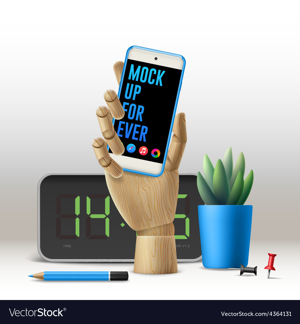 Workspace mock up with phone vector   Price: 3 Credit (USD $3)