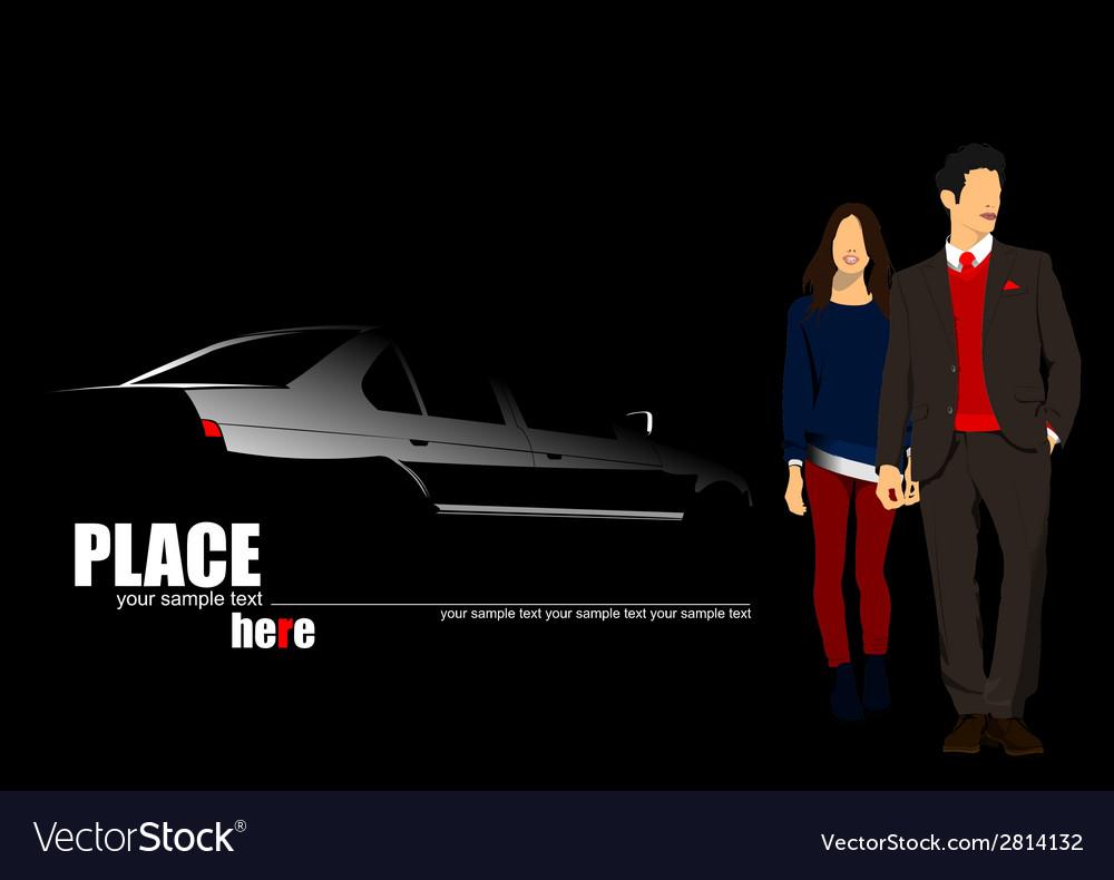 Al 1018 car and couple vector   Price: 1 Credit (USD $1)