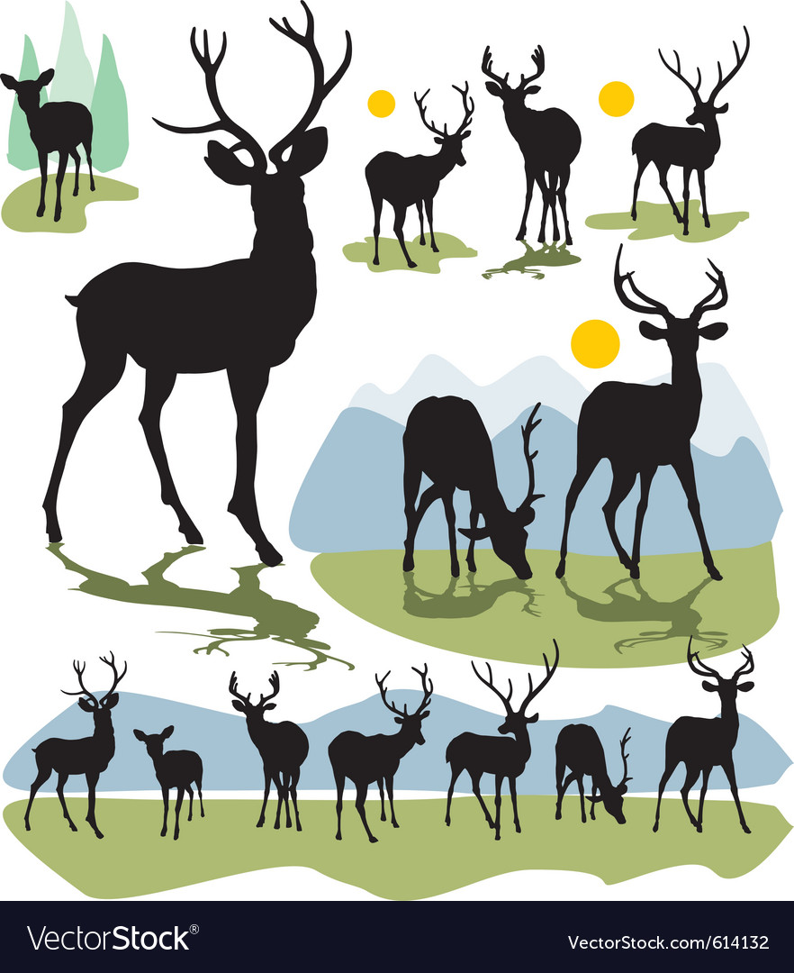 Deer silhouettes vector | Price: 1 Credit (USD $1)