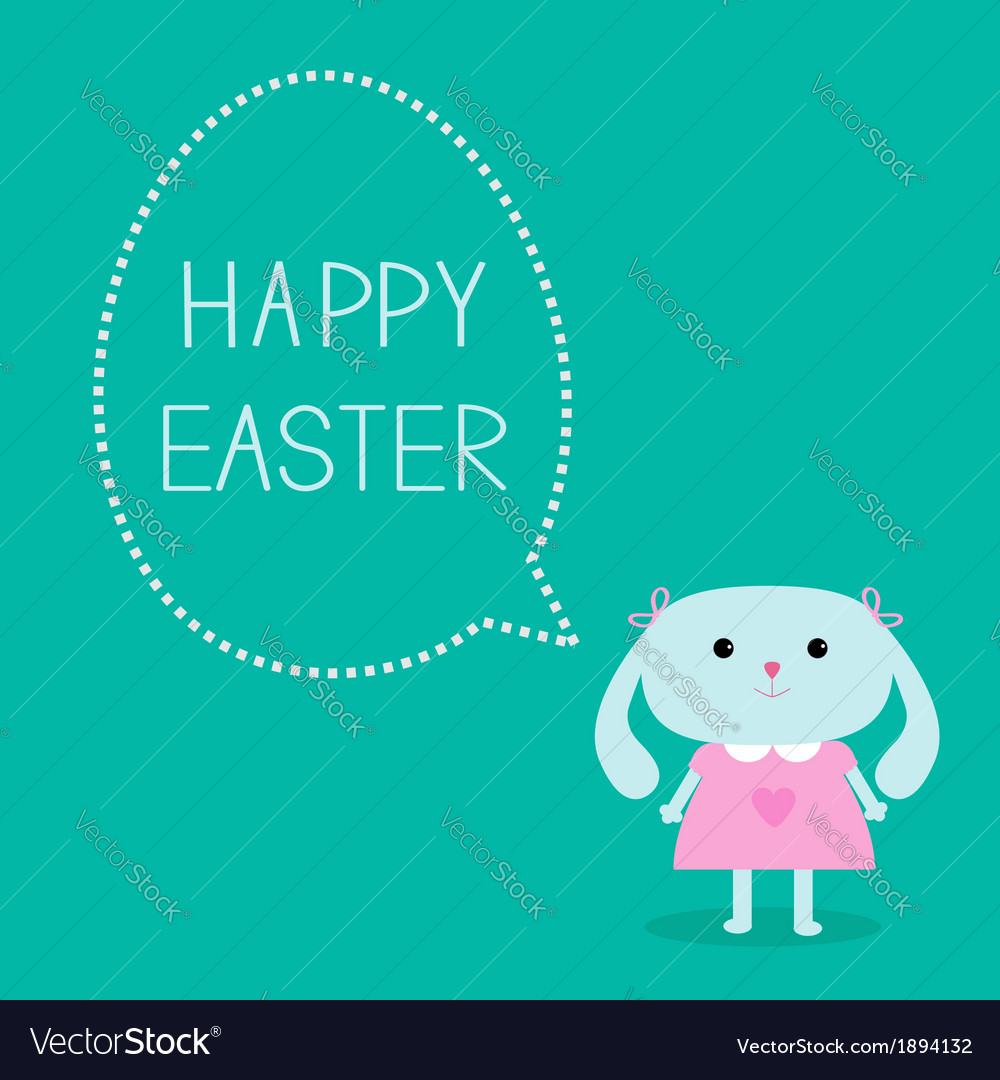 Easter bunny girl and dash line egg bubble vector | Price: 1 Credit (USD $1)