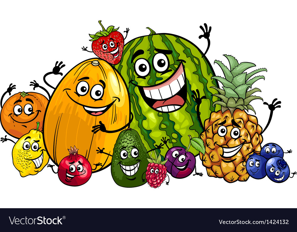 Funny fruits group cartoon vector | Price: 3 Credit (USD $3)