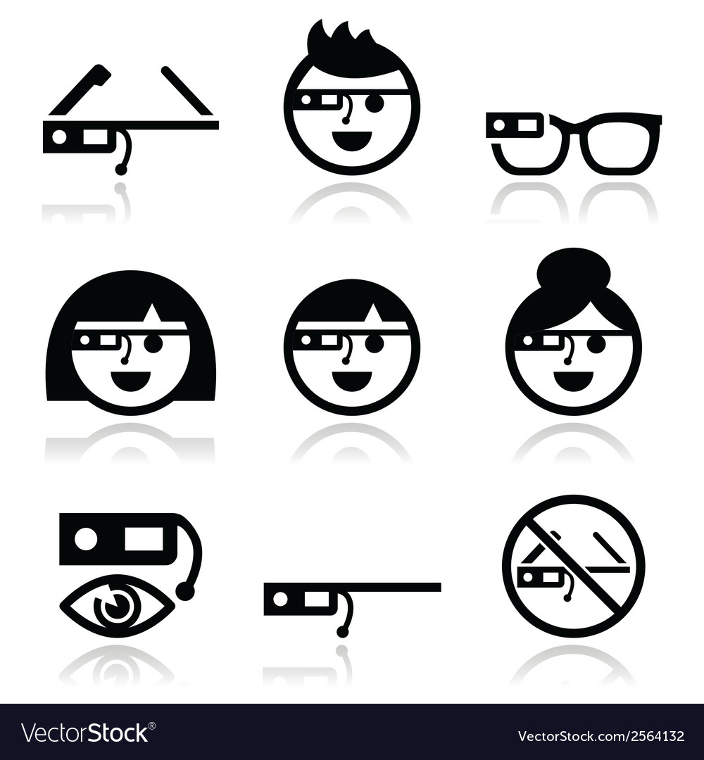 Google glass icons set vector | Price: 1 Credit (USD $1)