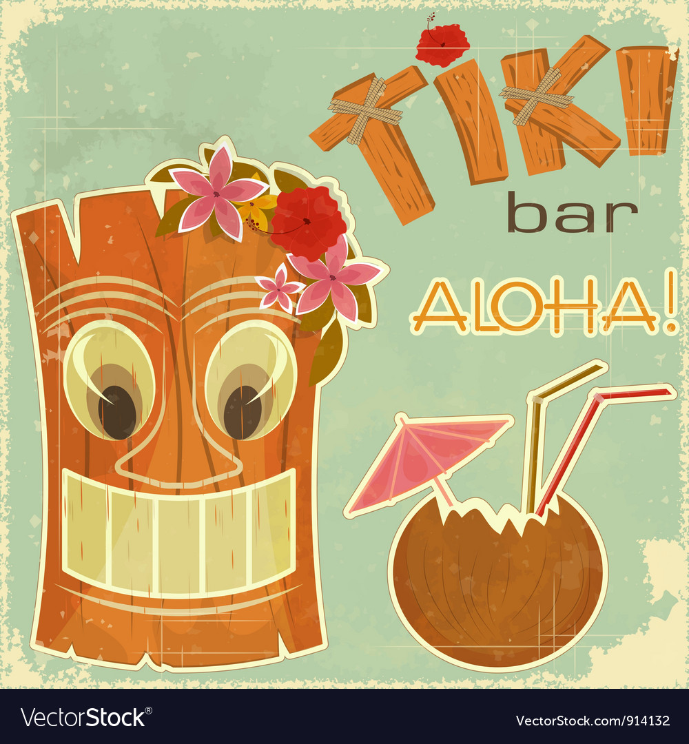 Invitation to tiki bar vector | Price: 3 Credit (USD $3)