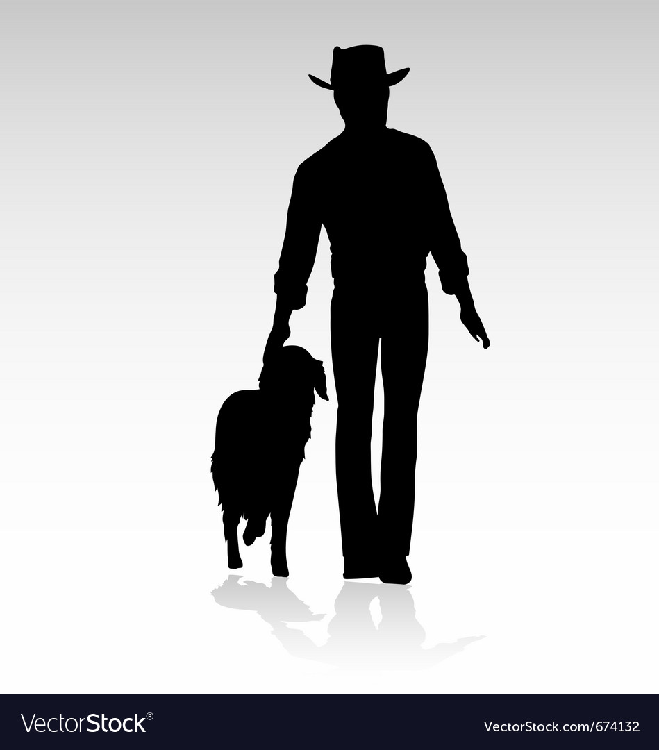 Man walking dog vector | Price: 1 Credit (USD $1)