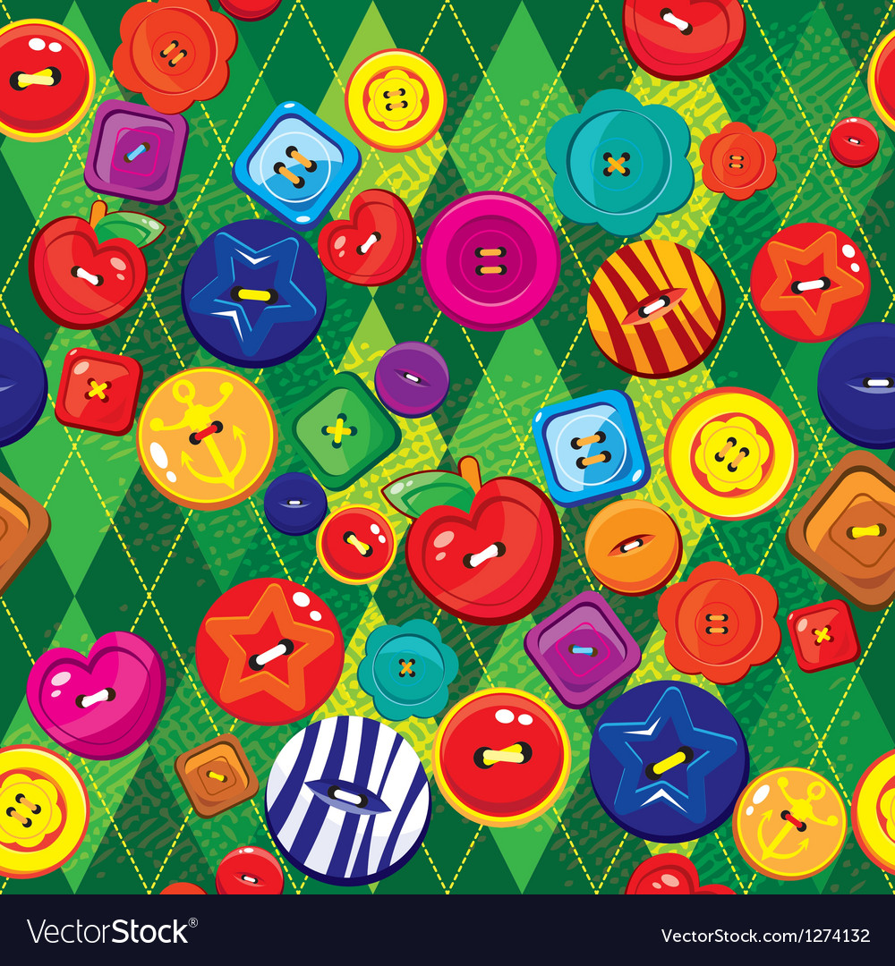 Seamless background with colorful sewing buttons vector | Price: 1 Credit (USD $1)