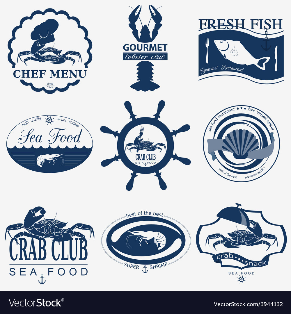 Set of vintage sea food logos logo templates and vector | Price: 1 Credit (USD $1)