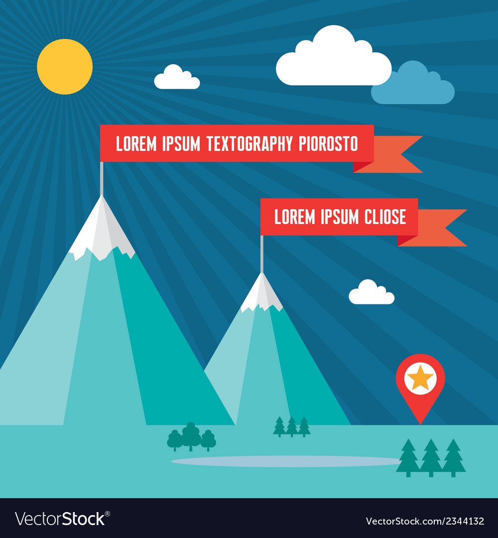 Snow mountains with red flags in flat design style vector | Price: 1 Credit (USD $1)