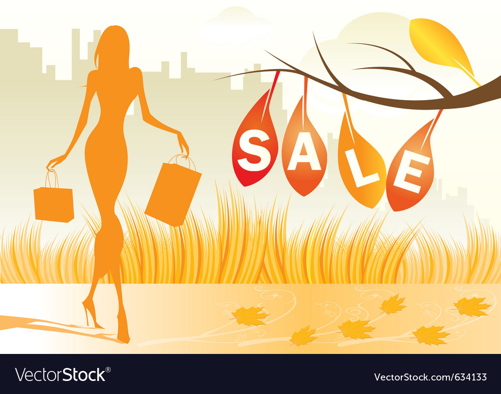Autumn background with shopping woman vector | Price: 1 Credit (USD $1)