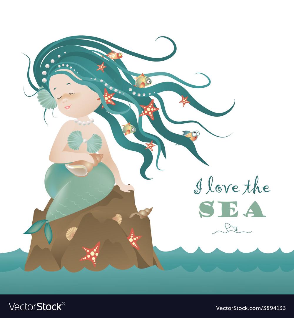 Beautiful mermaid girl sitting on the rock vector