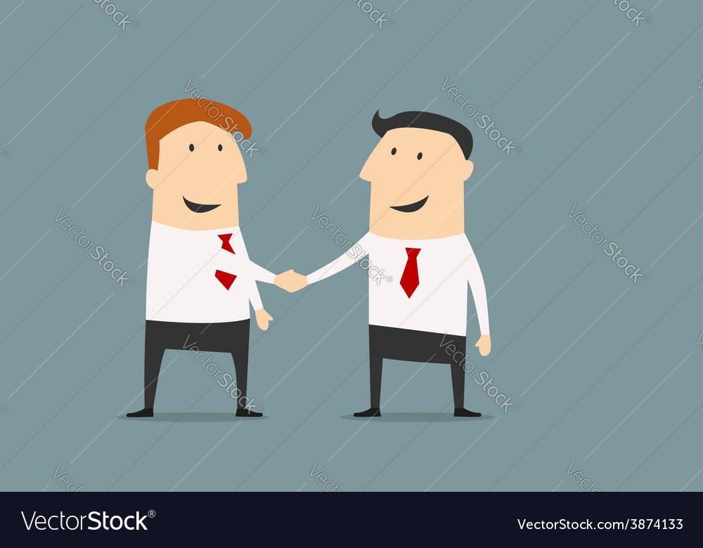 Cartooned businessmen shaking hands closing deal vector | Price: 1 Credit (USD $1)
