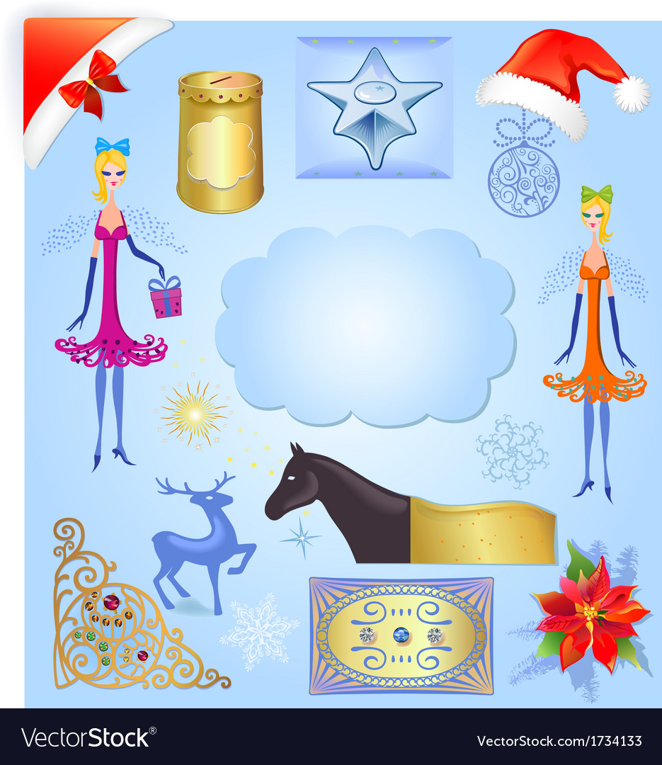 Christmas elements set isolated on light blue back vector | Price: 1 Credit (USD $1)
