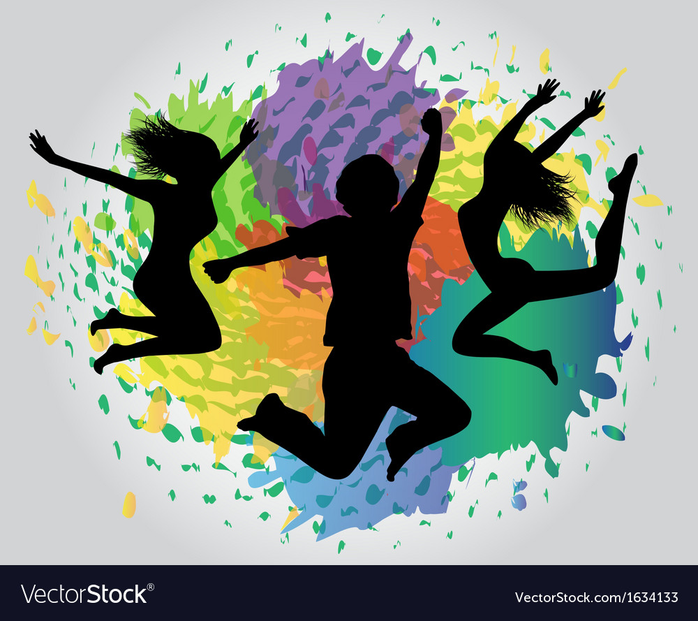 Jumping silhouettes against splashes vector | Price: 1 Credit (USD $1)