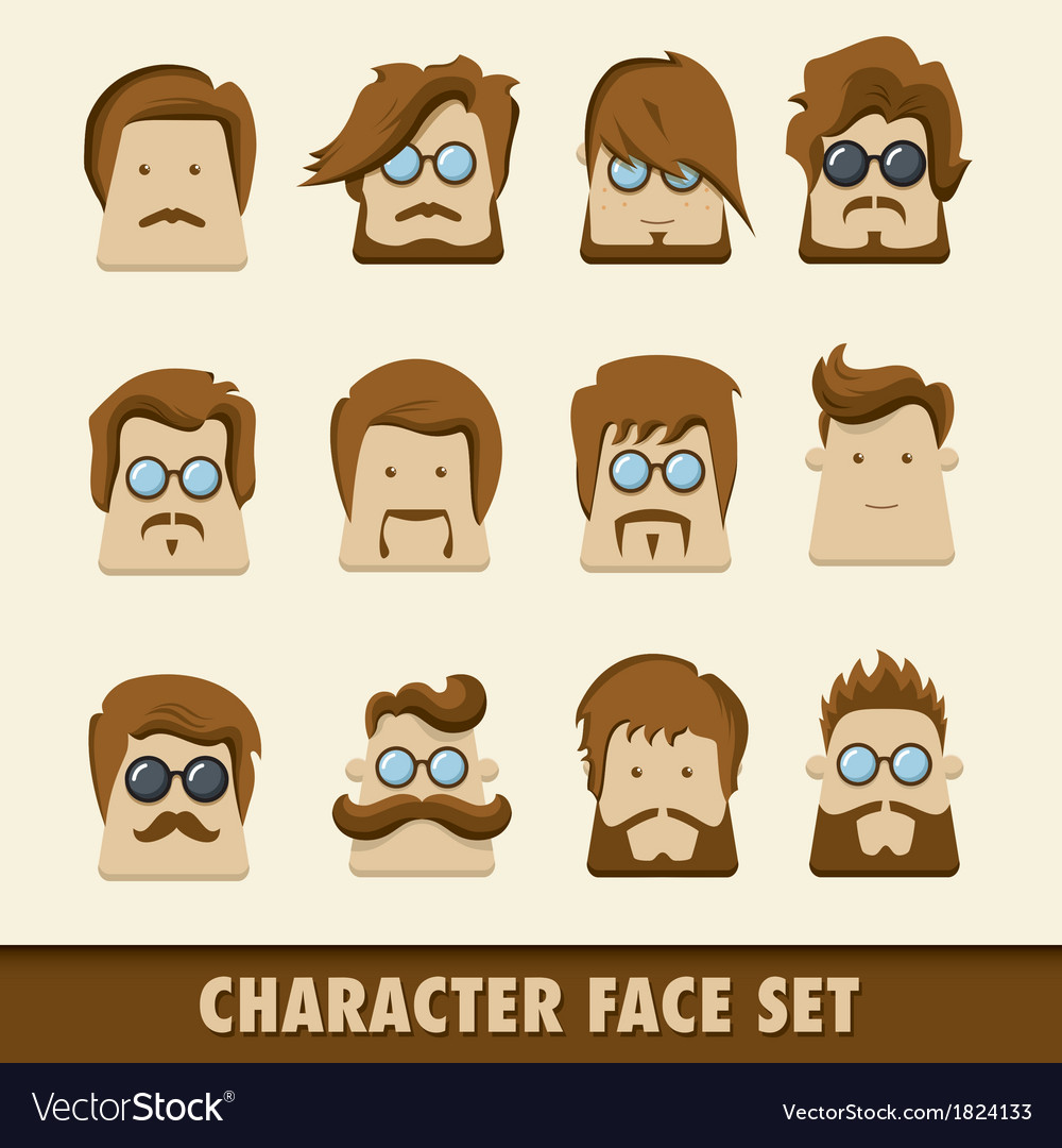 Men character icon set vector | Price: 1 Credit (USD $1)