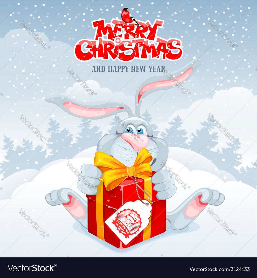 Rabbit christmas vector | Price: 1 Credit (USD $1)