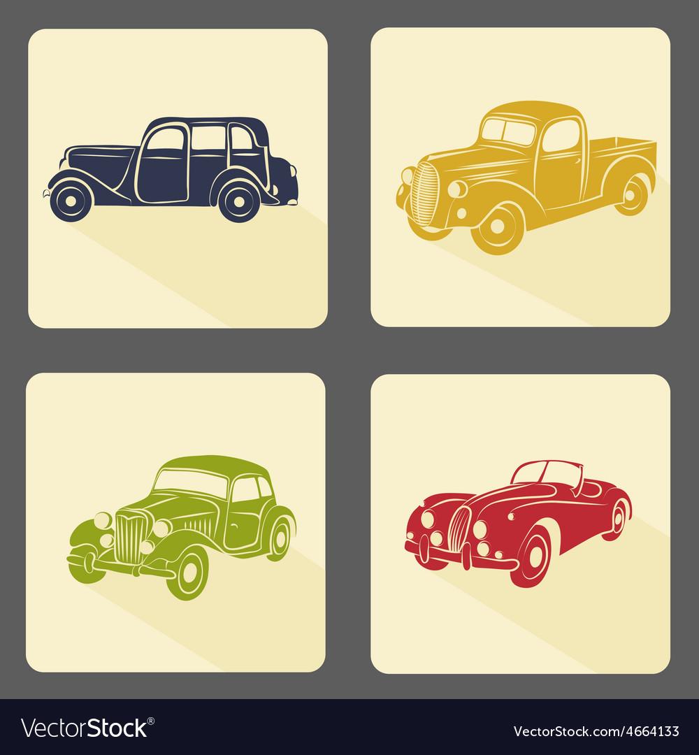 Retro car icon set vector