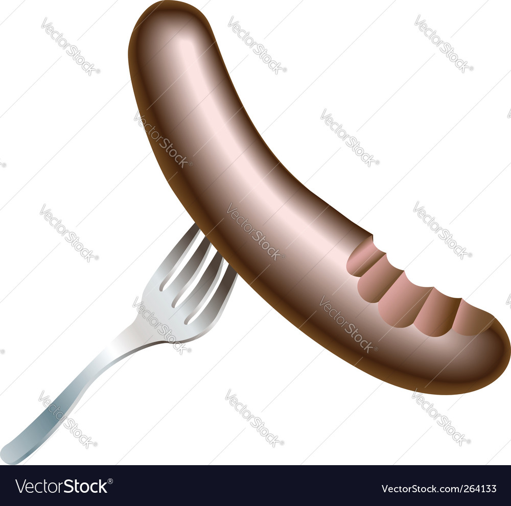 Sausage and fork icon vector | Price: 1 Credit (USD $1)