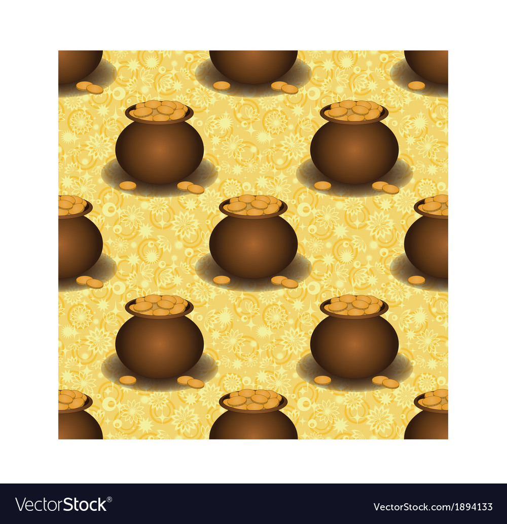 Seamless background pots with gold vector | Price: 1 Credit (USD $1)