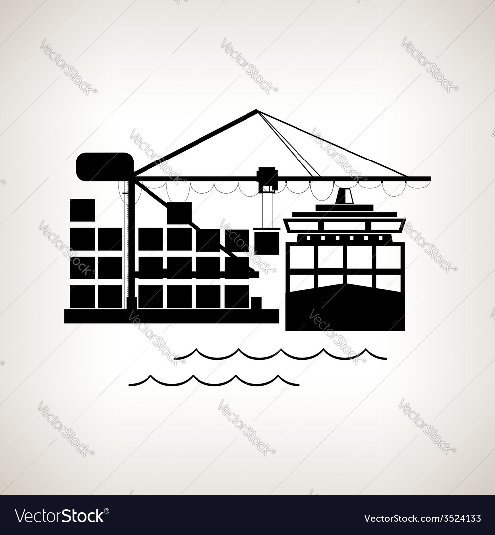 Silhouette cargo container ship and cargo crane vector | Price: 1 Credit (USD $1)