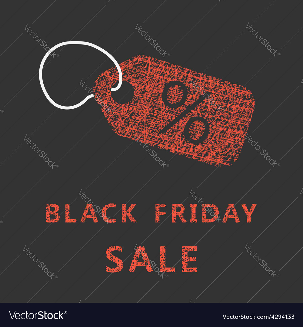 Sketch typography black friday sale with label vector | Price: 1 Credit (USD $1)