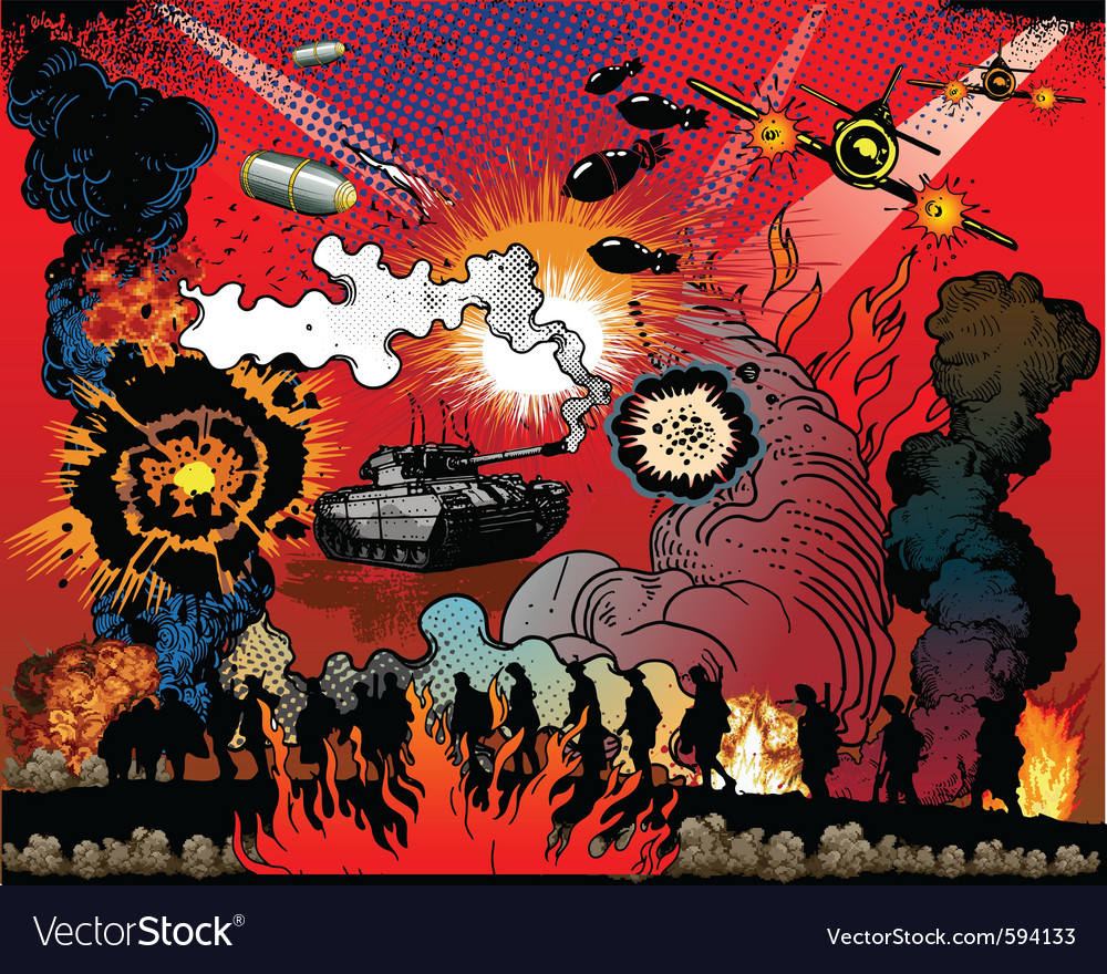 War explosions vector | Price: 3 Credit (USD $3)