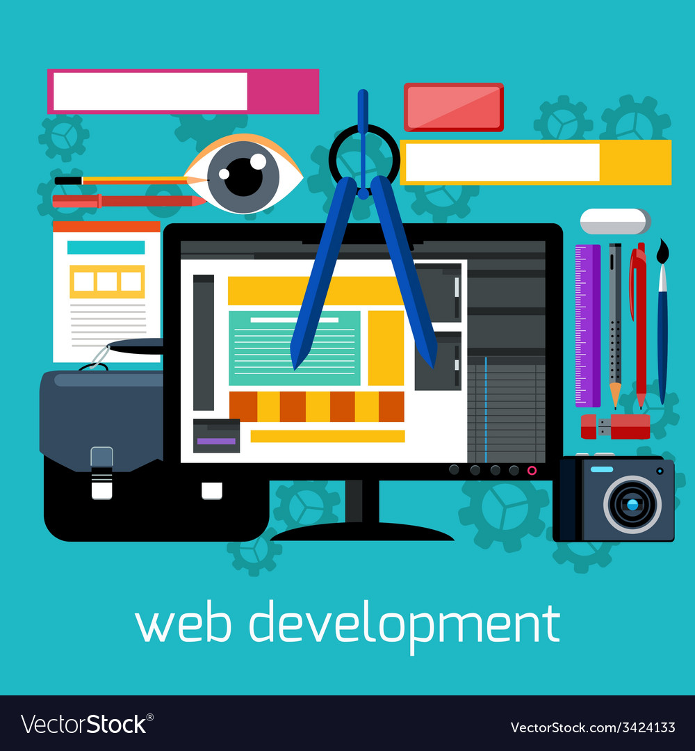 Web design and development flat concept vector | Price: 1 Credit (USD $1)