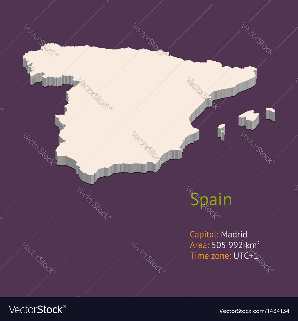 3d map of spain vector | Price: 1 Credit (USD $1)