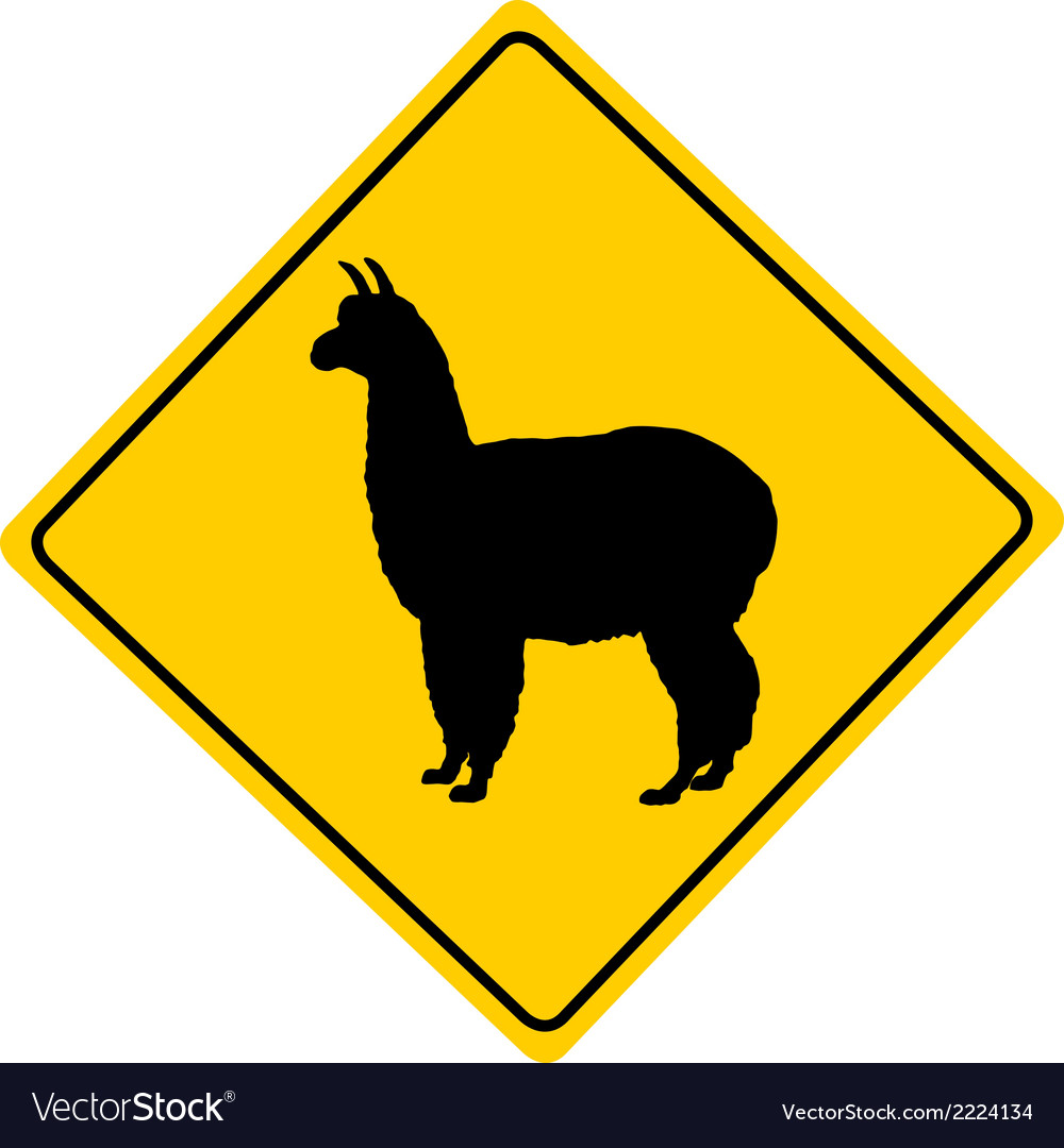 Alpaca warning sign vector | Price: 1 Credit (USD $1)