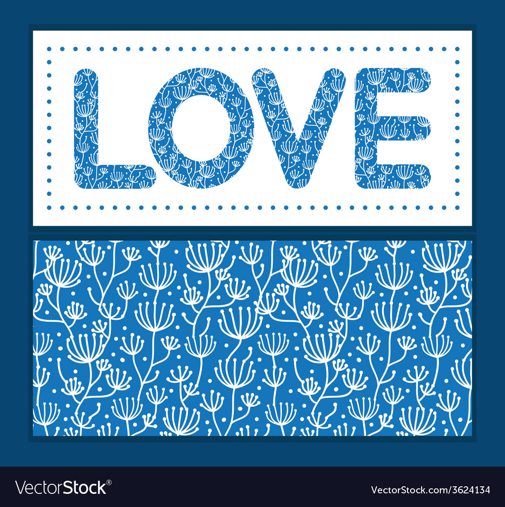 Blue white lineart plants love text frame pattern vector | Price: 1 Credit (USD $1)