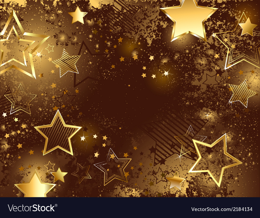 Brown background with golden stars vector | Price: 1 Credit (USD $1)