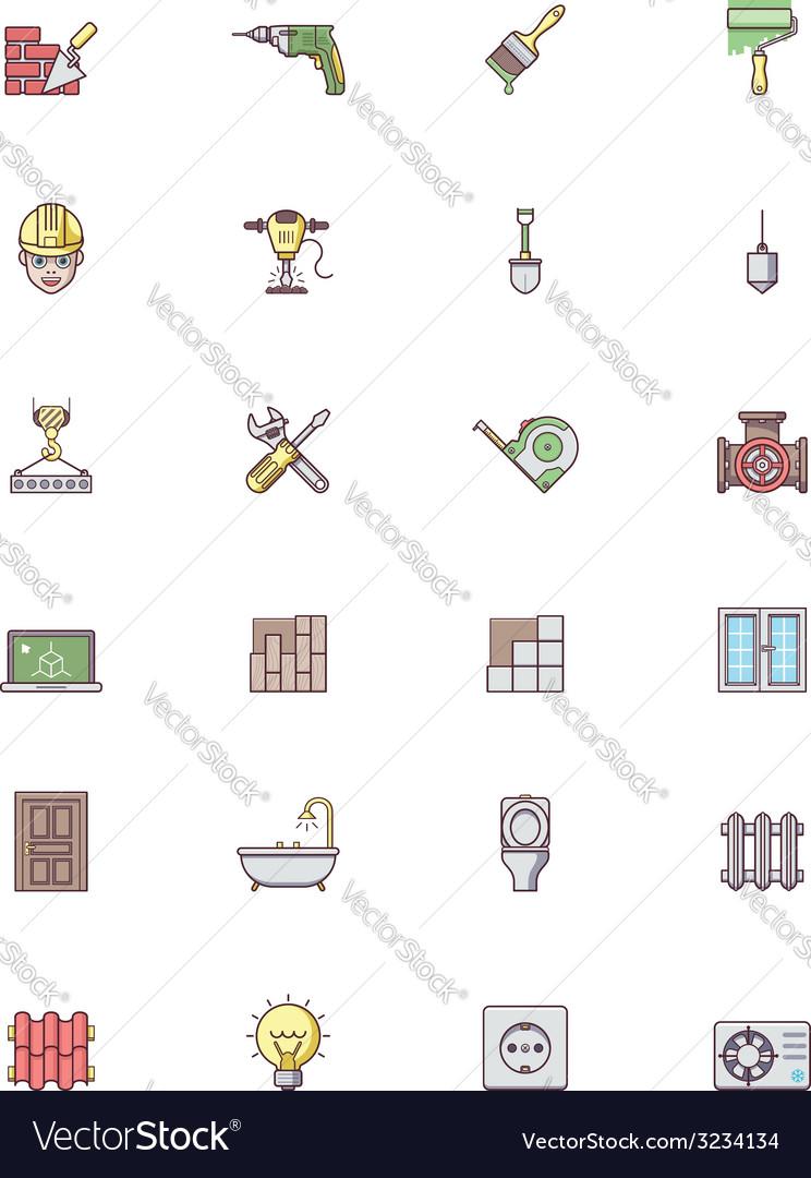 Construction icon set vector | Price: 1 Credit (USD $1)